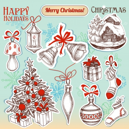 Christmas hand drawn symbols and stickers set Vector