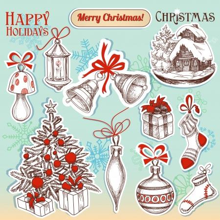 Simboli di Natale disegnato a mano e adesivi di cui