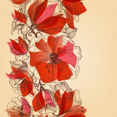 Flores rojas patrón transparente en estilo retro