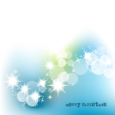 Christmas background in blue and green over white lights design