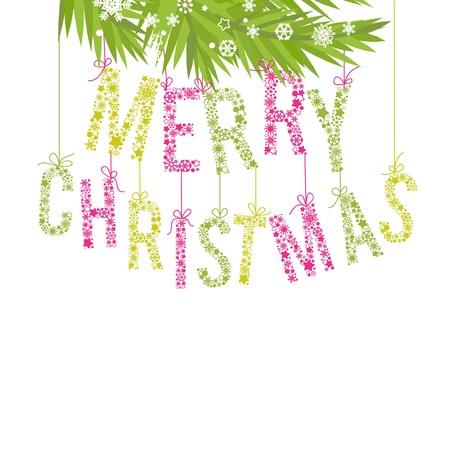 Merry Christmas testo fatto di fiocchi di neve e rami di alberi
