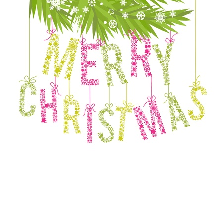 Merry Christmas text made of snowflakes and tree branches Vector