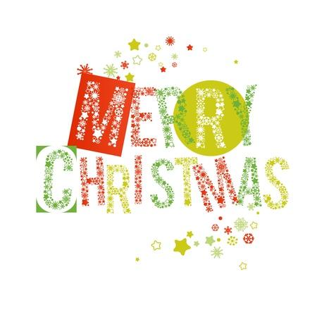 Buon testo Natale in rosso e verde, le lettere fatte di fiocchi di neve