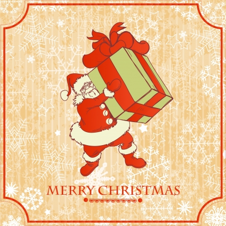 Vintage Christmas card, Santa with gift Stock Vector - 15941131