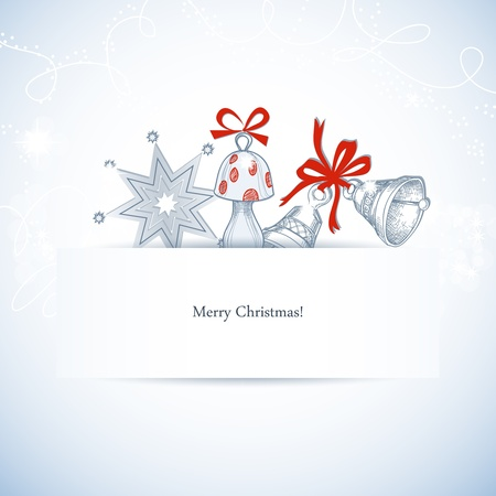Christmas banner with space for text and cute decorations Vector