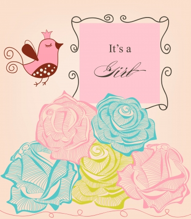 Floral baby girl shower, roses and cute bird  Vector