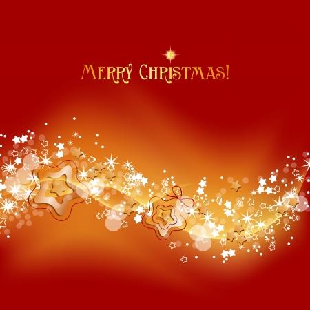 Oro e rosso Natale sfondo, onde di luce e stelle vettoriale illustrazione