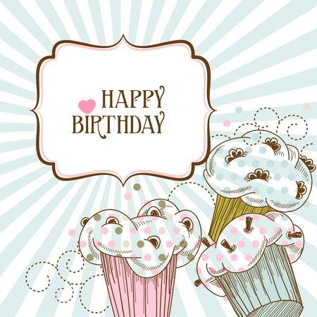 Happy Birthday Card With Cupcakes Royalty Free Cliparts Vectors