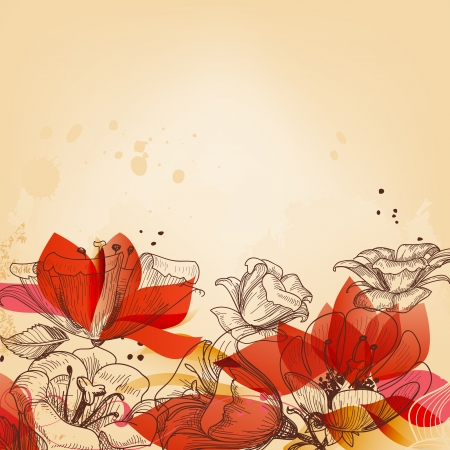invites: Vintage floral card, abstract red flowers vector  Illustration