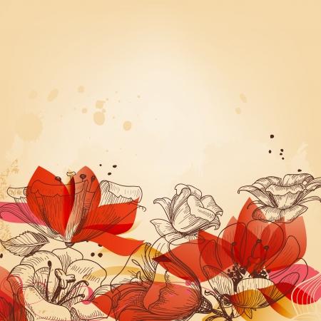 Vintage scheda floreale, astratto rosso vettore fiori