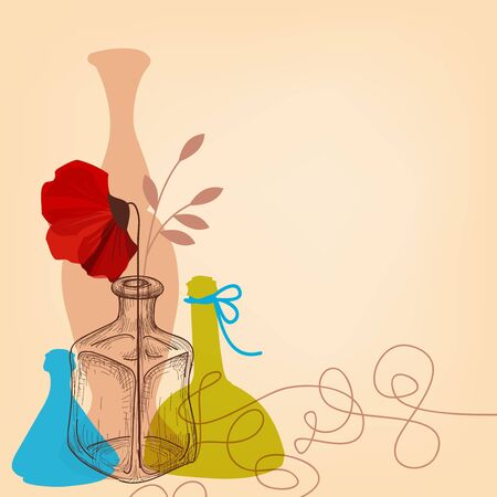 Lifestyle illustration with flower vases and bottles  Vector