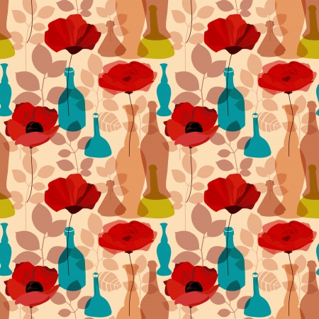 Flowers, vases and bottles seamless pattern vector Stock Vector - 16660028