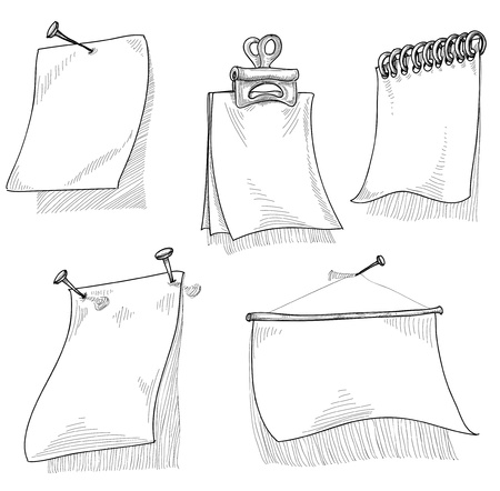 Pieces of paper for text, sketch vector Vector
