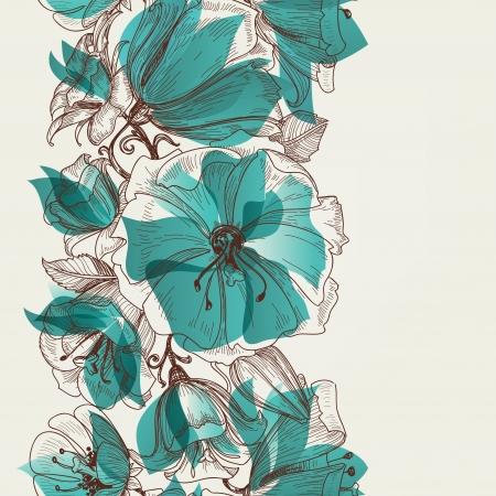アクアマリン: 花のシームレスなパターン ベクトル