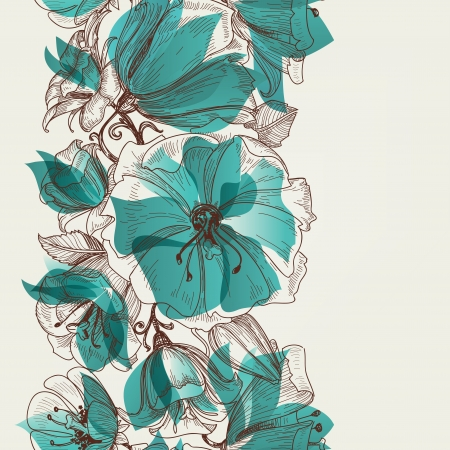borde de flores: Vector Flower seamless pattern Vectores