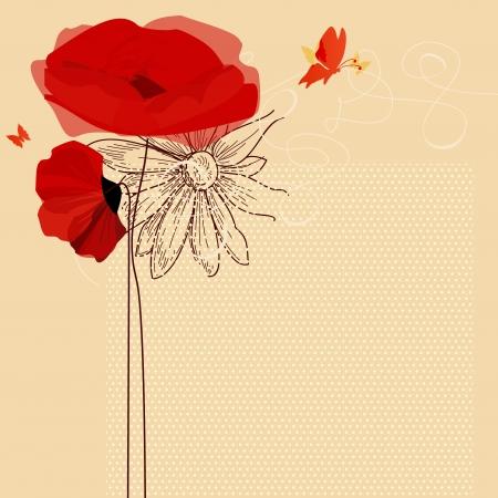 Invito floreale, papaveri e vettore farfalla