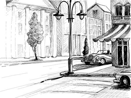 sketch: Retro stad schets, straat, gebouwen en oude auto's vector illustratie, potlood op papier stijl