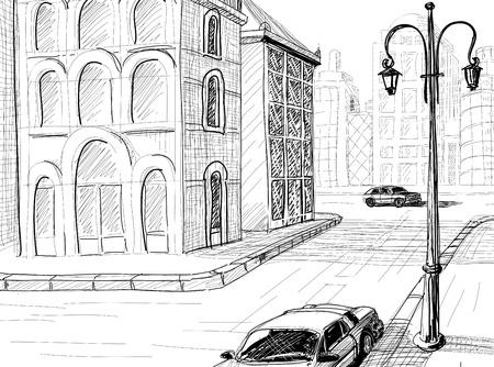 sketch: Stad schets vector achtergrond Stock Illustratie