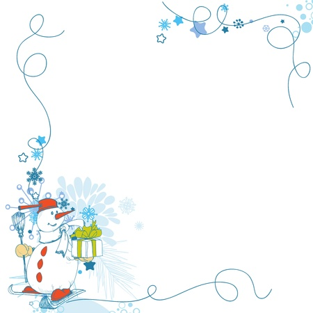 Christmas card, funny snowman corner decoration with gift  Illustration