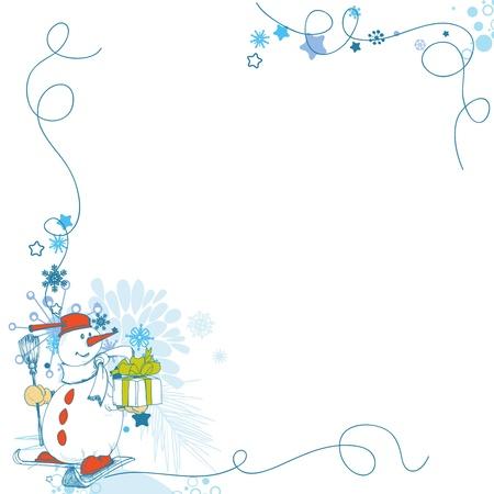 Cartolina di Natale, divertente pupazzo di neve angolo decorazione con regalo