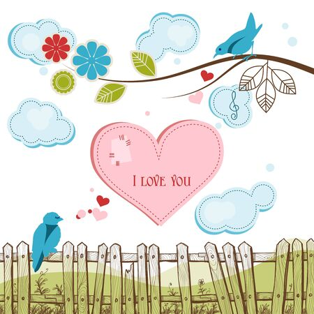 Blue birds singing love illustration Vector