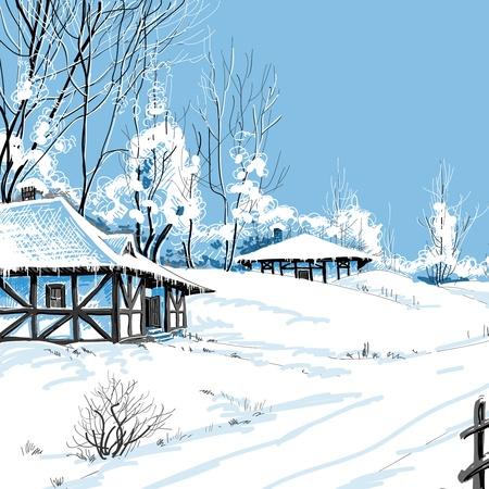 Winter snowy landscape illustration