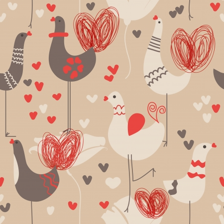 Cute love birds seamless pattern Vector