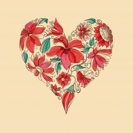 Retro heart of flowers love symbol Illustration