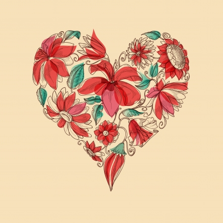 etching pattern: Retro heart of flowers love symbol Illustration