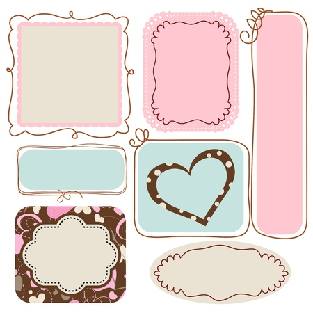 oval: Blank cute frames for text Illustration