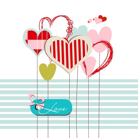 Hearts greeting card with love message  Illustration