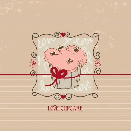 Love cupcake, Valentine day cute card  Vector