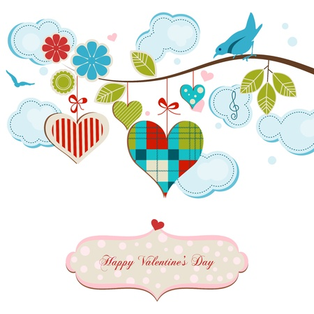 Happy valentines day: Romantic greeting card, blue birds and hearts