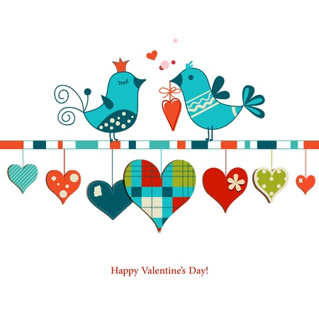 Cute birds sharing love , Valentines day design Stock Vector - 17741370