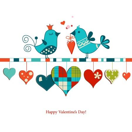 Cute birds sharing love , Valentines day design 矢量图像