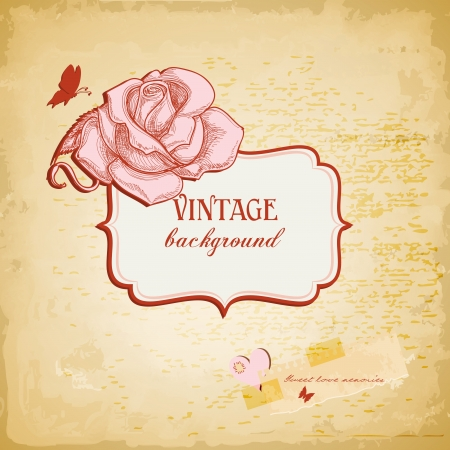Vintage background, frame for text with rose Vector