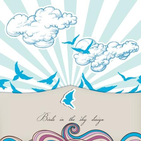 Blue birds in the sky vector  Vector