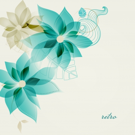 teal background: Retro floral background vector