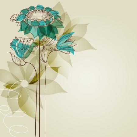 アクアマリン: ベクターの花  イラスト・ベクター素材