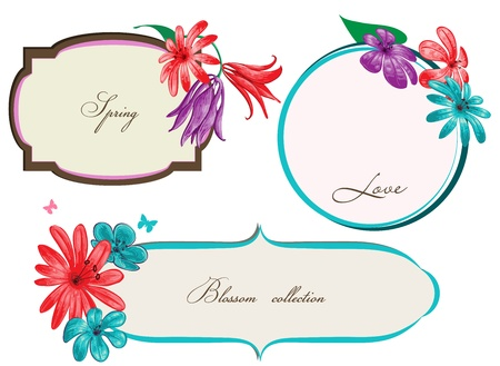 lily flowers collection: Spring floral frames or banners