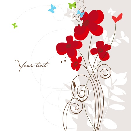 Spring floral greeting card with butterflies and heart  Illustration