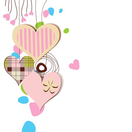 Love card, hanging decorative hearts  Vector