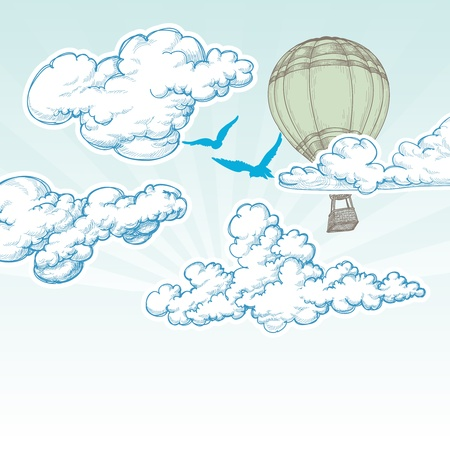 hot spring: Hot air balloon over blue sky vector illustration, holiday travel concept