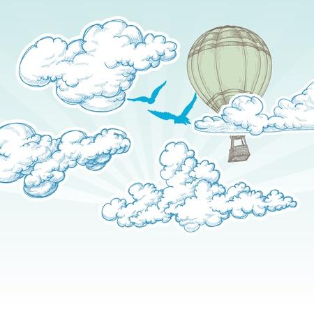 air travel: Mongolfiera nel cielo blu illustrazione vettoriale, concetto di viaggio vacanza Vettoriali