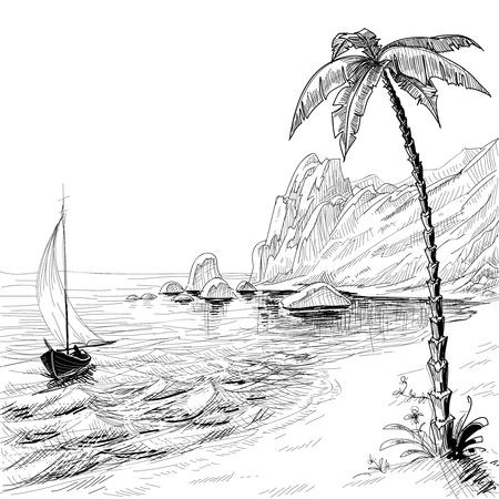 preto: Praia do mar, de barco e de palma esboço do vetor da árvore