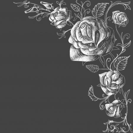 schwarz: Rosen Dekoration auf einem dunklen Hintergrund Illustration