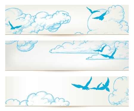 Sky banners, clouds and blue birds vector backgrounds Stock Vector - 21646022