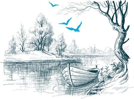 ボートで川のデルタのベクトルのスケッチ