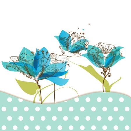 Floral garden greeting card Illustration