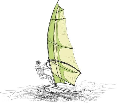 windsurf: Windsurfer vector illustration Illustration